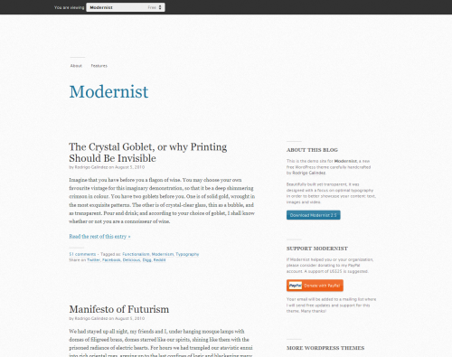 Modernist wordpress theme