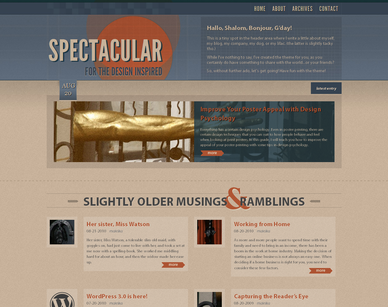 Spectacular WordPress Theme
