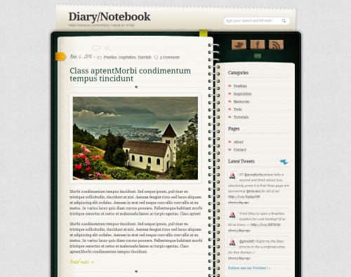 Skórka do WordPressa - Diary Notebook