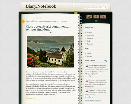 Skórka do WordPressa - Diary Notebook